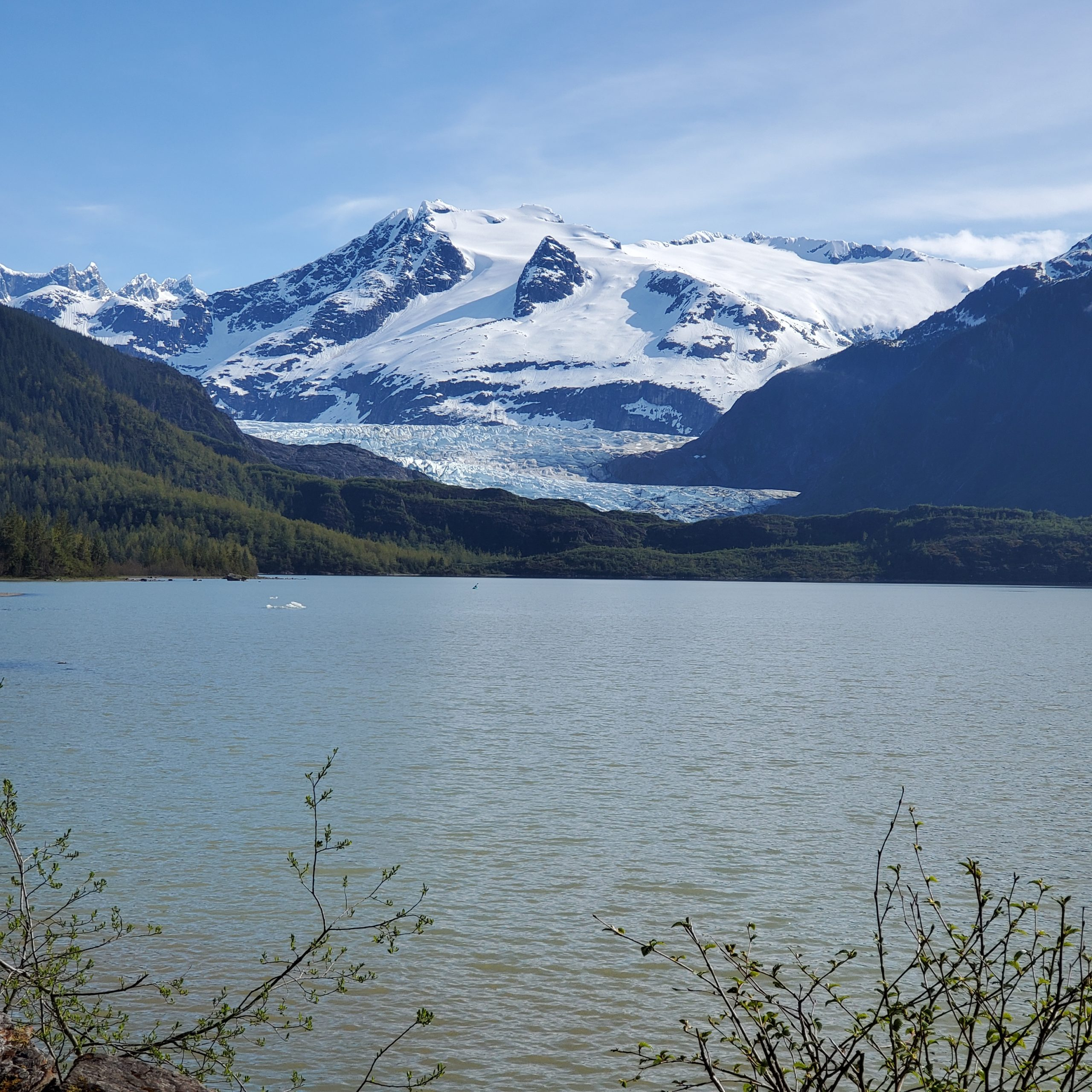 Lake with large mountain/glacier in the back